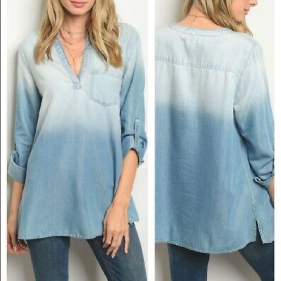 Dee Elly Ombré Chambray Button Blouse Top Blue